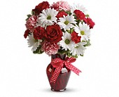 Hugs and Kisses Bouquet with Red Roses in Columbiana OH, Blossoms In the Village