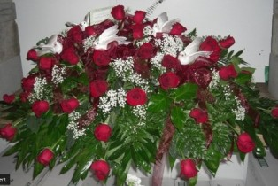 Graceful Red Casket Spray in Pell City AL, Pell City Flower & Gift Shop