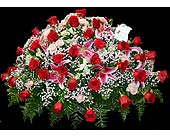 Pink and red mixed casket spray in Kingsport, Tennessee, Gregory's Floral