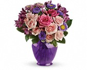 Teleflora's Purple Medley Bouquet with Roses in Vancouver BC, Downtown Florist