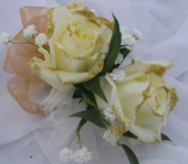 WHITE ROSE WITH GOLD GLITTER CORSAGE in Ossining NY, Rubrums Florist Ltd.