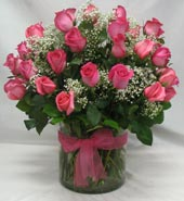 48 ASSORTED PINK ROSES Arranged by Rubrums in Ossining NY, Rubrums Florist Ltd.