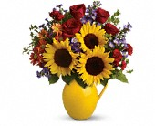 Teleflora's Sunny Day Pitcher of Joy in Islandia NY, Gina's Enchanted Flower Shoppe