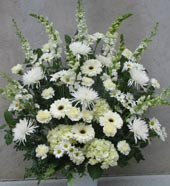 WHITE SERENITY SYMPATHY BASKET by Rubrums in Ossining NY, Rubrums Florist Ltd.