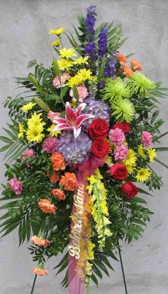 JOYFUL MEMORIES STANDING SPRAY by Rubrums in Ossining NY, Rubrums Florist Ltd.