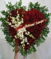 ETERNALLY YOURS RED ROSE STANDING HEART by Rubrums in Ossining NY, Rubrums Florist Ltd.