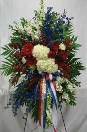 IN THEIR HONOR STANDING SPRAY   by Rubrums in Ossining NY, Rubrums Florist Ltd.