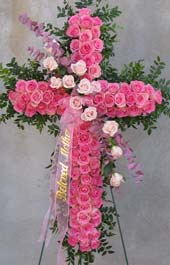PINK ROSE STANDING CROSS by Rubrums in Ossining NY, Rubrums Florist Ltd.