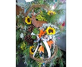 Standing Spray with Deer Assorted Greens in Fincastle VA, Cahoon's Florist and Gifts