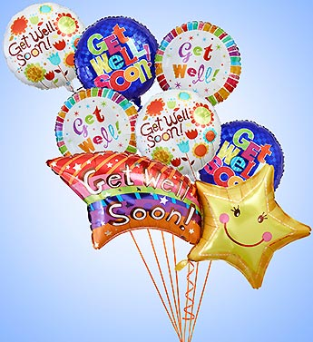 Get WEll Soon Shooting Star Mylar Bundle in Woodbridge VA, Lake Ridge Florist