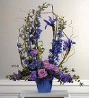 Lavender and Blue Mache Arrangment in Roselle IL, Roselle Flowers