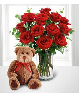 Dozen Roses with a Bear in Highlands Ranch CO, TD Florist Designs
