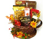 GF155 ''Cup Runneth Over'' Gourmet Coffee Basket in Oklahoma City OK, Array of Flowers & Gifts