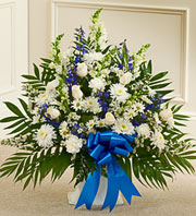 Blue and White Sympathy Floor Basket in Chicago, Illinois, Sauganash Flowers