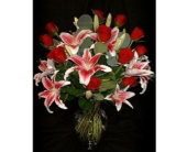Dozen Red Roses w/ Pink Lilies in Dallas TX, Z's Florist