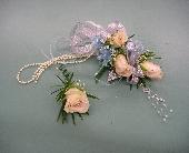 Ivory roses wrist corsage in Artesia, California, Pioneer Flowers