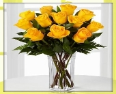YELLOW ROSES ARRANGED IN A VASE, BOX OR DEC. CELLO in Knoxville TN, Crouch Florist