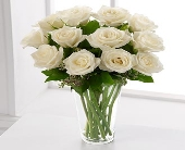 WHITE ROSES ARRANGED IN A VASE OR BOX in Knoxville TN, Crouch Florist