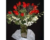 Red Roses and White Orchids Large in Dallas TX, Z's Florist