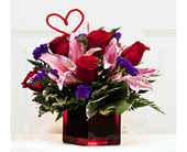Cypress Flowers - Red roses&pink lilies in a cube - Grand Designs Florist