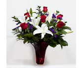 Cypress Flowers - Red roses&white lilies in a red vase - Grand Designs Florist