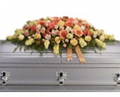 Warmest Remembrance Casket Spray in St Augustine FL, Flower Works