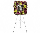 Mosaic of Memories Square Easel Wreath in San Clemente CA, Beach City Florist