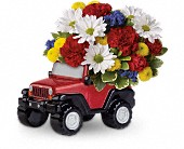 T12F110A Jeep Wrangler King of the Road by Teleflora in Oklahoma City OK, Array of Flowers & Gifts