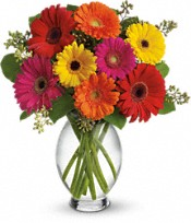 Oklahoma City Flowers - Bright Gerbera Vase - Ann's Secret Garden