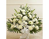 White Sympathy Floor Basket in Jersey City NJ, Hudson Florist