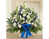 Blue and White Sympathy Floor Basket in Jersey City NJ, Hudson Florist