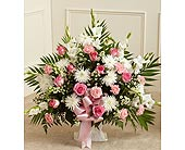 Pink and White Sympathy Floor Basket in Jersey City NJ, Hudson Florist