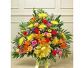 Multicolor Bright Sympathy Floor Basket in Jersey City NJ, Hudson Florist