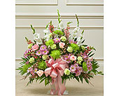 Pastel Sympathy Floor Basket in Jersey City NJ, Hudson Florist