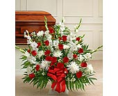 Red and White Sympathy Floor Basket in Jersey City NJ, Hudson Florist