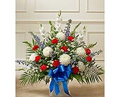 Red White And Blue Sympathy Floor Basket in Jersey City NJ, Hudson Florist