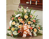 Peach, Orange, and White Mixed Fireside Basket in Jersey City NJ, Hudson Florist