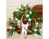 Red and White Rose Fireside Basket in Jersey City NJ, Hudson Florist