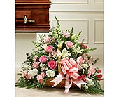 Pink And White Rose Fireside Basket in Jersey City NJ, Hudson Florist