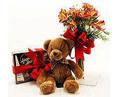 Teddy-Bear-Chocolates-Flowers-Trio in San Clemente CA, Beach City Florist