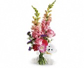 Teleflora's Bear Hug Bear with Pink Roses in Springfield OR, Affair with Flowers