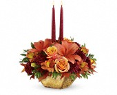 Oak Brook Flowers - Teleflora's Harvest Gold Centerpiece - Carousel Flowers by Shamrock