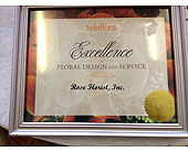 TF Excellence Certificate in Fairfax VA, Rose Florist