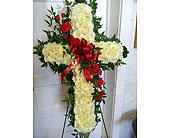 Standing Cross in Colors of Red in Fincastle VA, Cahoon's Florist and Gifts