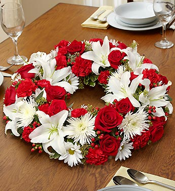 1 800 FlowersRed & White Centerpiece in Woodbridge VA, Lake Ridge Florist