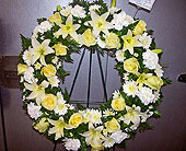 Yellow and white wreath in Melbourne, Florida, Paradise Beach Florist & Gifts