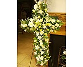 Yellow and white cross in Melbourne FL, Paradise Beach Florist & Gifts
