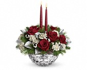 Teleflora's Sparkle of Christmas Centerpiece in Edmonton AB, Petals For Less Ltd.