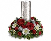 Let's Be Merry Centerpiece by Teleflora in Eagle River AK, Oopsie Daisy LLC.