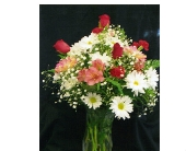 Spring Arrangment with Roses in a Vase in Mililani Town HI, Mililani Town Florist